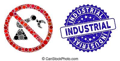 industriel, robotique, gratté, icône, non, timbre, mosaïque