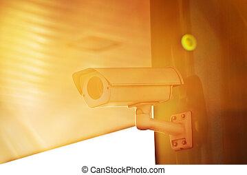 industriel, soleil, appareil-photo cctv, flamme, sécurité