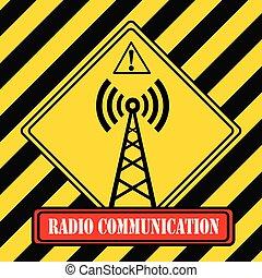 industriel, symbole, -, radio, communication