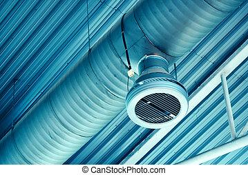industriel, système, air, tuyau, ventilation, entrepôt