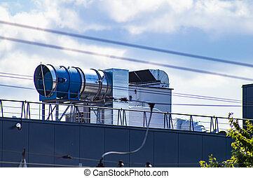 industriel, système, toit, air, ventilation, bâtiment.