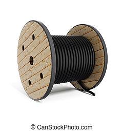 industriel, tambour, tuyau, bobine, câble