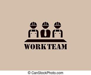 industriel, travail, icône, équipe