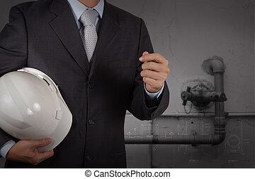 industriel, tuyauterie, facilité, eau, concept, nettoyage, gaspillage, ingénieur