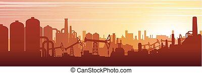 industriel, urbain, image, vecteur, paysage.