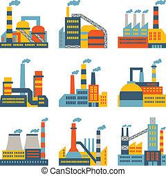 industriel, usine, bâtiments, icônes, ensemble, dans, plat, conception, style.