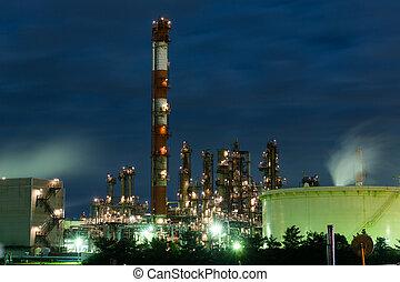 industriel, usine, fonctionnement, nuit