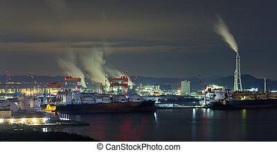 industriel, usine, kurashiki, nuit