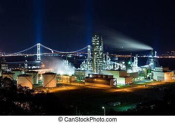 industriel, usine, nuit