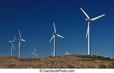 industriel, vent, installation., écologique, énergie, concept