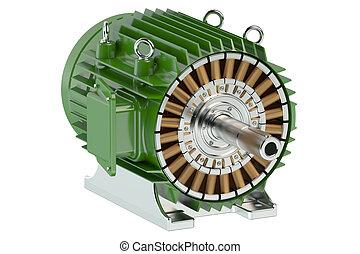 industriel, vert, moteur électrique