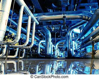 industriel, zone, acier, canalisations, dans, tonalités...