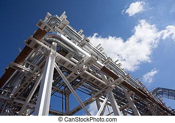 industriel, zone., acier, canalisations