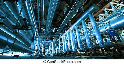 industriel, zone, acier, canalisations, valves, et, échelles