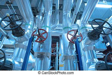 industriel, zone, acier, canalisations, valves, et, câbles