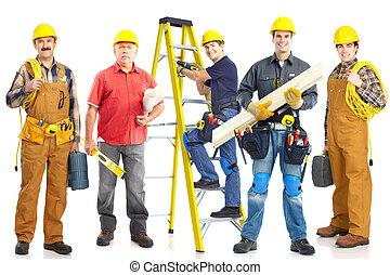industriele werkers, group.