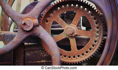industriell, grunge, klocka, abstrakt, ingenjörsvetenskap, tid, mekanisk, gears., arbete, concept., rörelse
