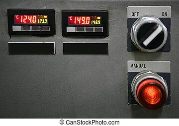 industriell, kontrollbord, installation, knapp