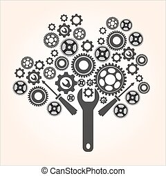 industriell, kuggar, träd, isol, begrepp, utrustar, nyskapande, gjord