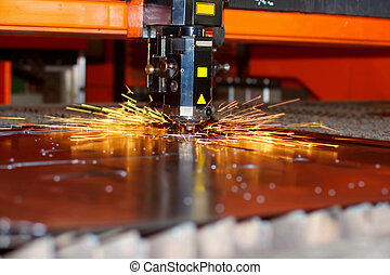 industriell laser, med, gnistar