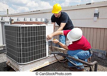 industriell, luftkonditionering, reparera