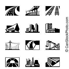 industriell, olik, konstruktion
