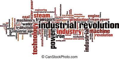 industriell, ord, moln, revolution