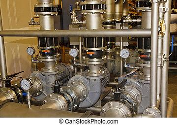 industriell, pumpar, fabrik