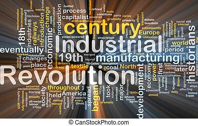 industriell, revolution, ord, moln, glödande