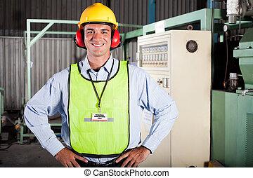 industriell, säkerhet, tjänsteman, hälsa