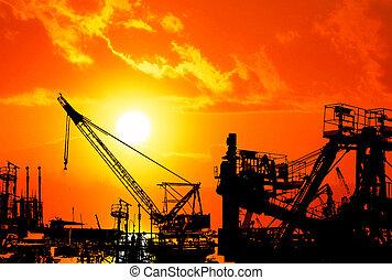 industriell, solnedgång, hamn, över