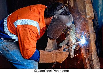 industriell, stål, svetsning