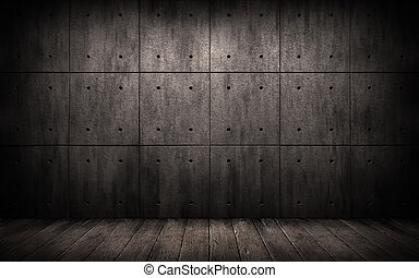industriell, trä, väggar, bakgrund., skumt rum, konkret, ...