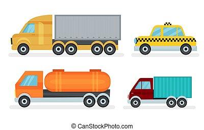 industriell, urban transportera, vektor, illustrationer, olik, sätta