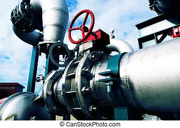industriell, zon, stål, pipeliner, in, blått tonar