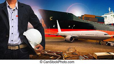 industries, transport, business, fonctionnement, air, logistique, professionnel, fret, homme