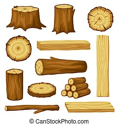 industry., セット, トランクス, 木材を伐採する, 木, イラスト, 林業, 製材, 切り株, 板