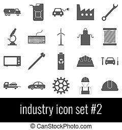 industry., セット, 灰色, アイコン, バックグラウンド。, 2., 白, アイコン