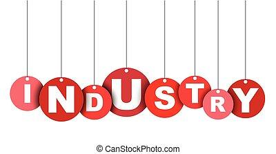 industry., ベクトル, 網, これ, 旗, 井戸, 隔離された, イラスト, 要素, タグ, 容易である, 円, adapted, 赤, design.