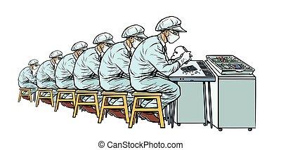 industry., 多数, 労働者, エレクトロニクス, 製造, plant.