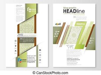 industry., 概念, 色, 抽象的, 装飾, 化粧品, デザイン, エステ, style., テンプレート, ビジネス, blog, templates., ウェブサイト, 平ら, 線である, 美しさ, layout., 背景, グラフィック, leaves., ベクトル, 緑, ページ