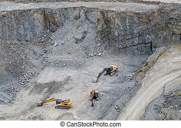 industry., 鉱山, 仕事, digger., quarry., -, 機械, 花こう岩