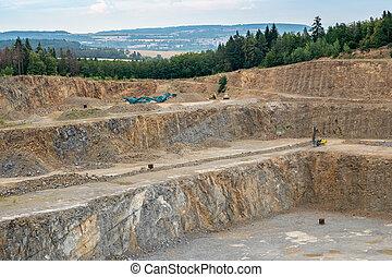 industry., 鉱山, 仕事, opencast, 採石場, machine., ロット, quarry., -, 機械, machinery., ボーリングする, 花こう岩, 坑夫