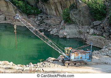 industry., 鉱山, 古い, 仕事, quarry., -, 機械, crane., 花こう岩