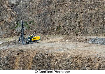 industry., 鉱山, machine., opencast, 採石場, quarry., ボーリングする, 花こう岩