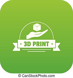 Industry 3d printing icon green vector