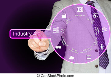 Industry 4.0 concept in purple - Businessman in grey suit...