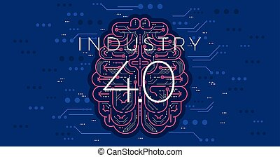 Industry 4.0 concept vector illustration. Modern industrial revolution - automation and data exchange in manufacturing technologies. Cyber systems, internet of things (IOT), cloud computing and AI