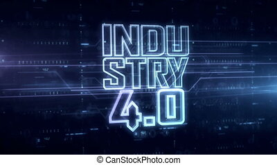 Industry 4.0 hologram 3d animation. Modern concept of innovation, cyber technology, business and automate on blue digital background.