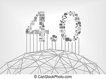 Industry 4.0 text as industrial internet of things concept